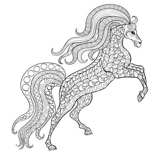 Advanced Coloring Pages Of Horses : Best images about zentangled animals horse on