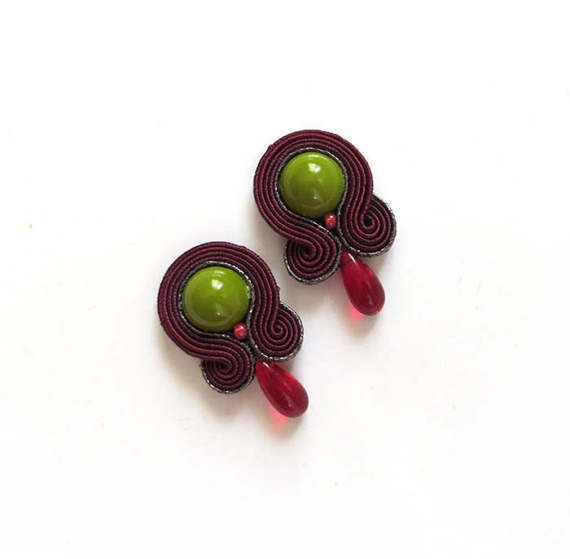 Marsala earrings Burgundy cranberry earrings soutache by sutaszula