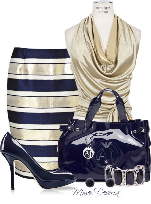 """Striped pencil skirt"" by madamedeveria ❤ liked on Polyvore"