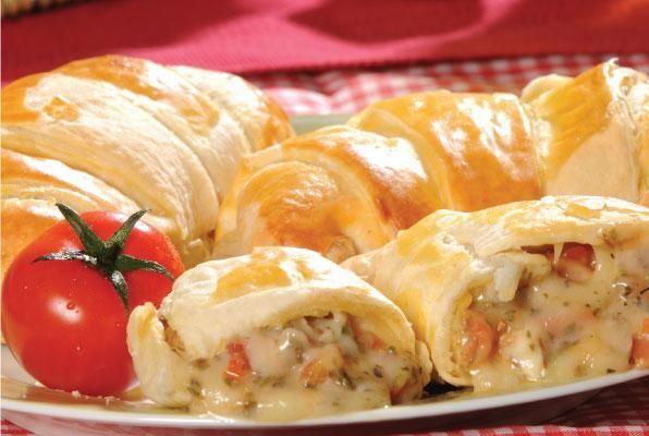 Croissants recheados com presunto e queijo passo a passo Massa de salgado que pode fazer pasteis de forno, enroladinhos, etc