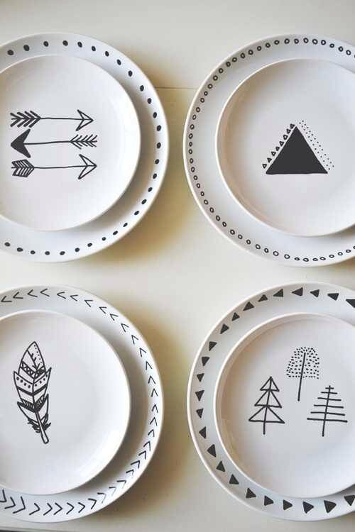 would be fun to draw with a porcelaine pen http://idoproyect.com/rotuladores-ceramica/