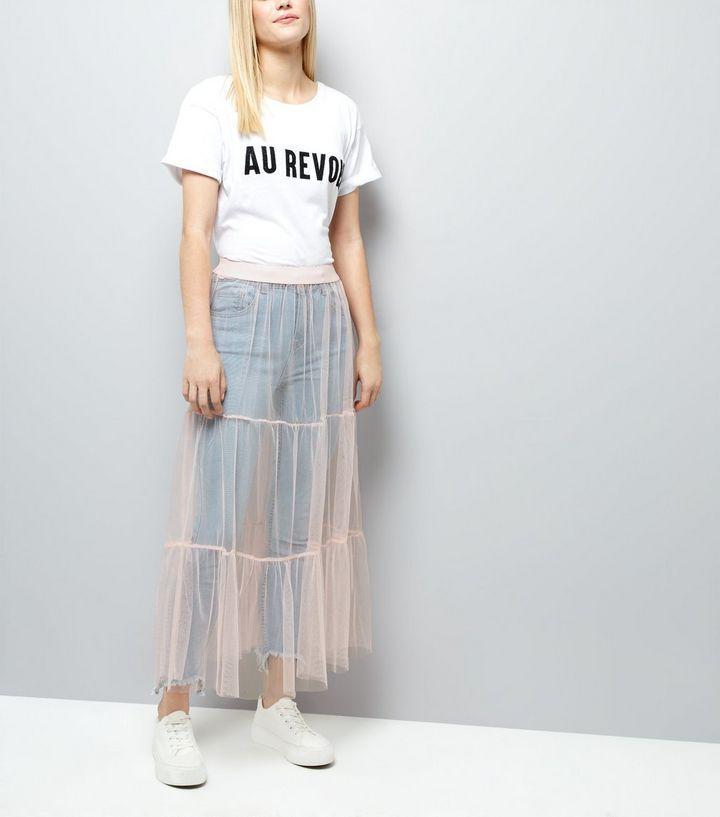 Jupe mi-longue en tulle rose pâle à niveaux | New Look
