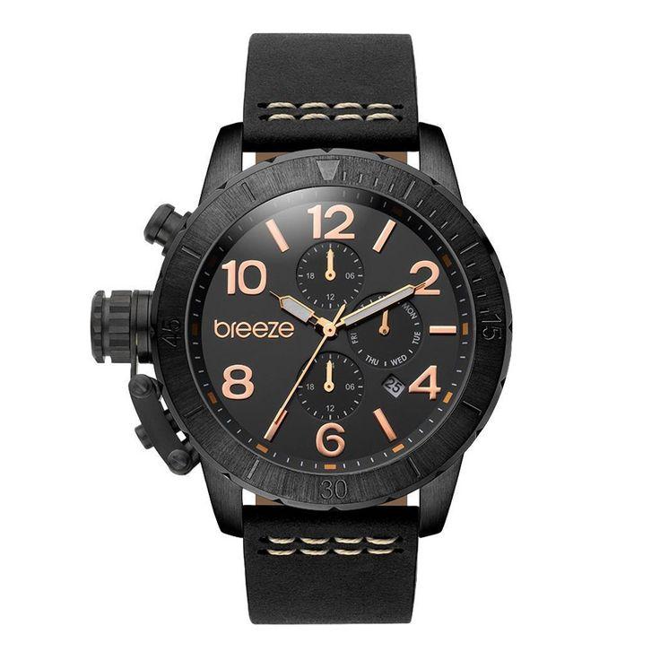 Ανδρικό μοντέρνο αδιάβροχo ρολόι BREEZE 110702.2 Kryptonite με μαύρο καντράν και μαύρο δερμάτινο λουρί | Ρολόγια BREEZE ΤΣΑΛΔΑΡΗΣ στο Χαλάνδρι #breeze #kryptonite #μαυρο #δερμα #tsaldaris