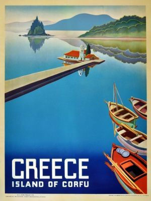 Greece Corfu, 1954 - original vintage poster listed on AntikBar.co.uk
