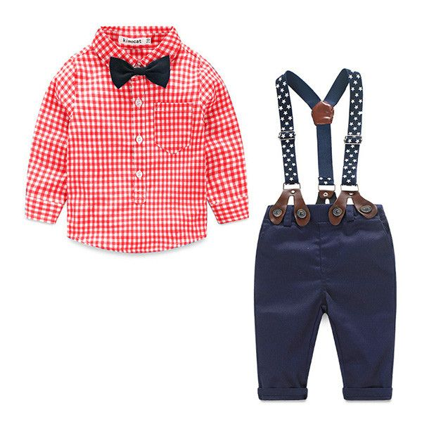 - Baby Boy - 3 Piece Outfit - Long Sleeve Shirt with Bow - Suspenders - Pants - 3 Colors Available Free Shipping! Please Allow 2-4 weeks for delivery.