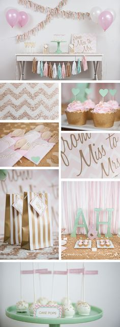 Pink, mint, and glitter gold themed bridal shower and decorations for a very glam party.