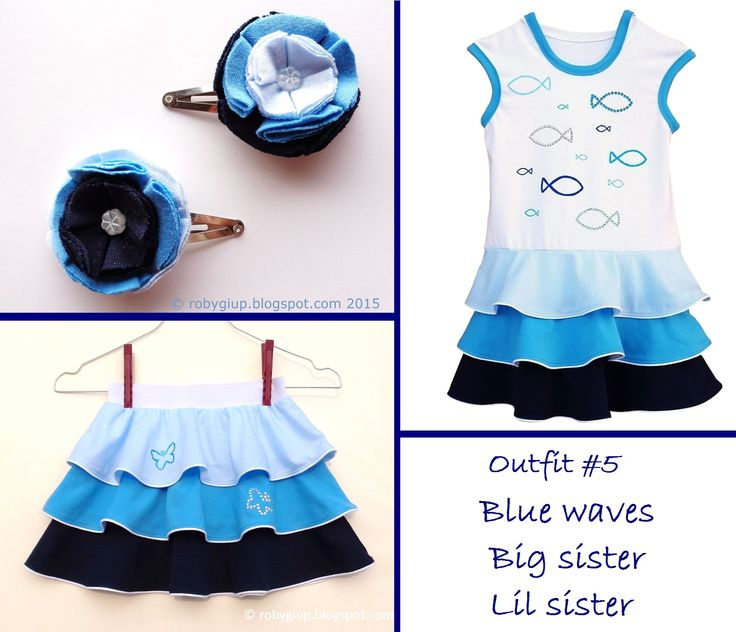 """Blue waves"" sisters summer outfit: ombre blue hooded dress, flounces skirt, hair clips couple with fabric flowers - Lil Sister Big Sister clothing set - by RobyGiup handmade"
