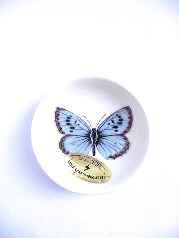 Blue Butterfly Ceramic Dish Handcrafted by Guild Crafts