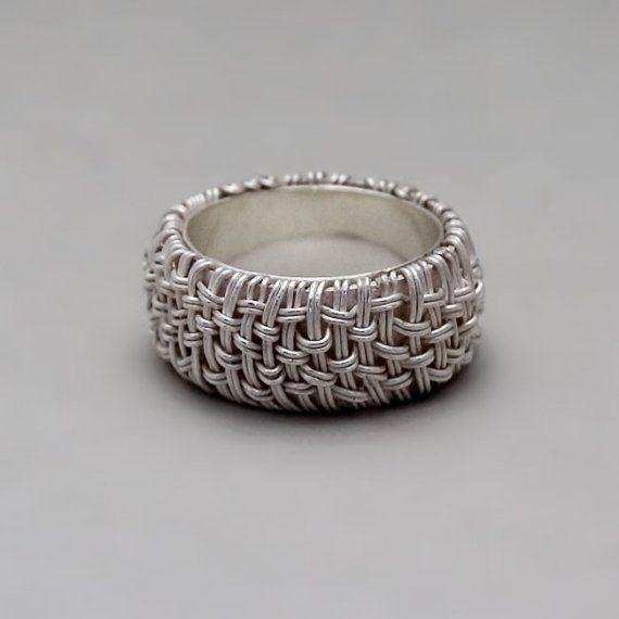 Wide Silver Ring  Handmade Fine Silver Jewelry  by toolisjewelry,