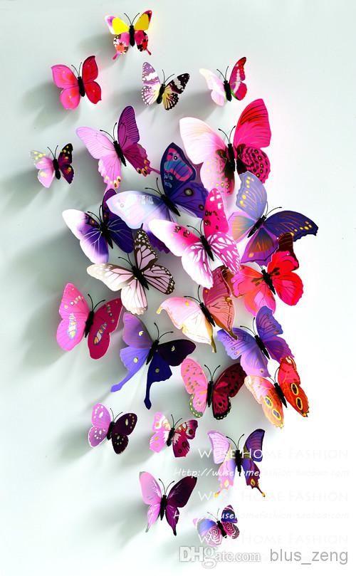многоцветный 3D искусственные бабочки магнит подражать действительно красочные бабочки свадебный подарок