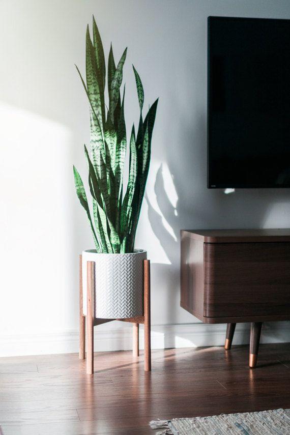 Mid Century Modern Plant Stand Hand Made In Canada Walnut Wood Retro Home Decor Design