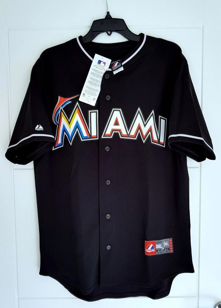 factory authentic 25981 e16ee MAJESTIC MIAMI MARLINS MLB Official Baseball Jersey Shirt ...