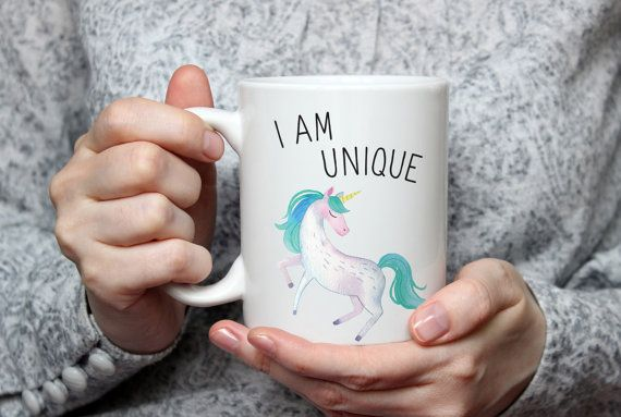 Unicorn mug - I Am Unique - Motivational, inspirational quote coffee mug, gift for tea lovers, watercolor kitchenware, ceramic dinnerware