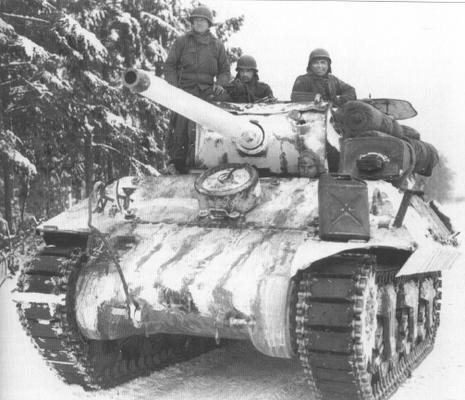 A whitewashed M10 tank destroyer of 773rd Tank Battalion waits in ambush near Benonchamps (hamlet of Bastogne), 21st january 1945.