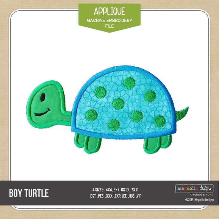 Boy Turtle Applique design for machine embroidery from Magnolia Designs