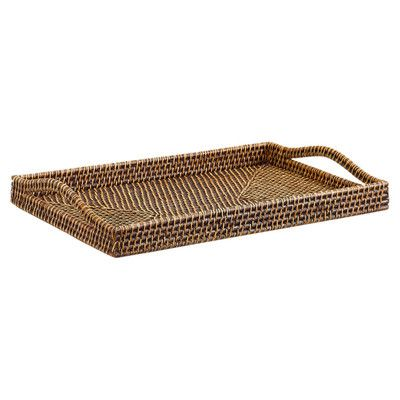 A rattan serving tray lends a tropical vibe to happy hour.   $73
