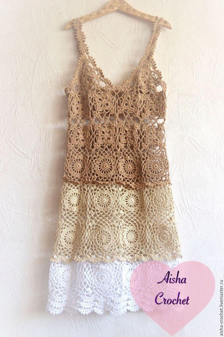 Купить Пляжный сарафан - бежевый, платье вязаное, пляжное платье, пляжная мода, платье летнее