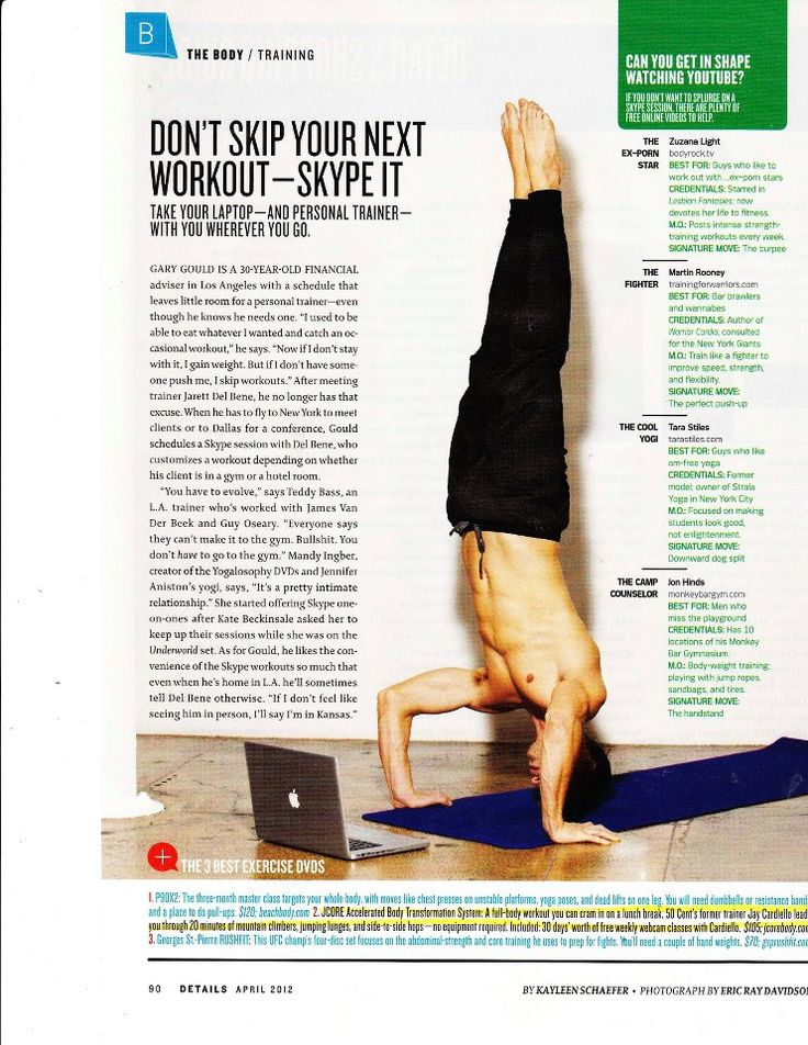 Don't Skip Your Next Workout - Skype It!  -  DETAILS Magazine (April 2012): Names JCORE as One of the 3 Best Fitness DVD's.