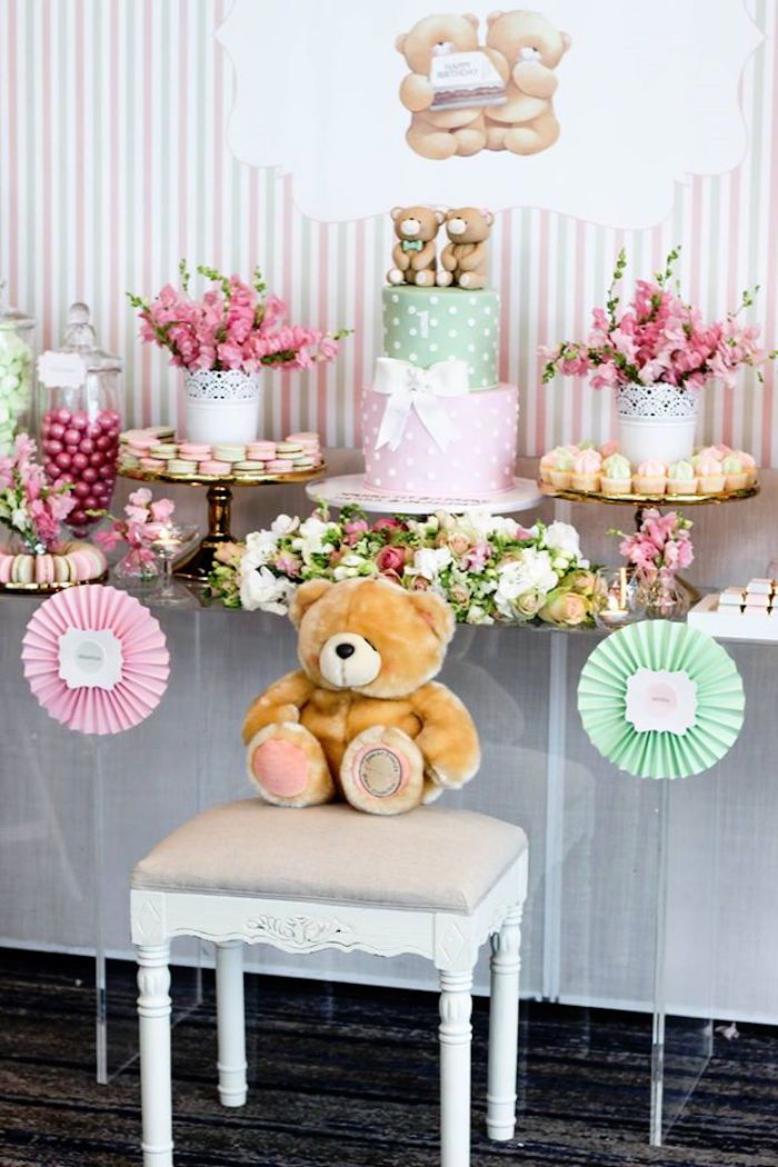 Dessert Table from a Teddy Bear Forever Friends Birthday Party