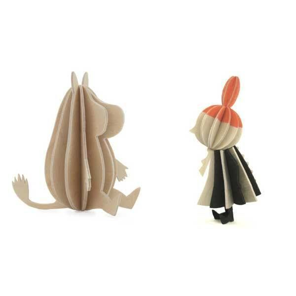 These 9 cm high Moomintroll and Little Myfigures each consist of6 or 13 parts and come in a postcard-like 27 x 15 cm package.The figuresare assembled by hands without any tools and the set is perfect as a gift and as decoration. Two characters included.Made out of eco-friendly birch plywood in Finland.Also see our Moominmamma and Moominpappa set.