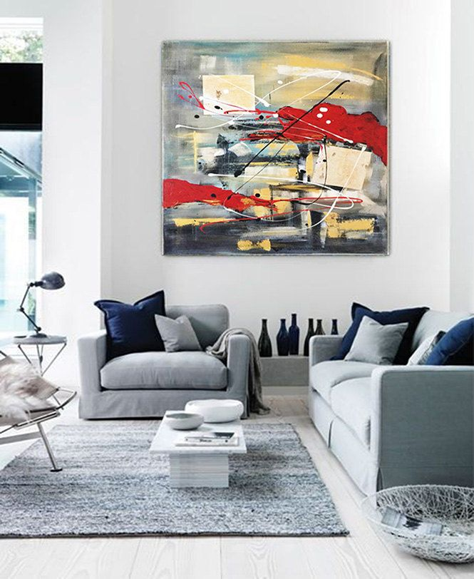 CANVAS PRINT Red Abstract Painting Acrylic Painting Modern Red Gray Black Abstract Art by Kathleen Artist Ready To Hang Art