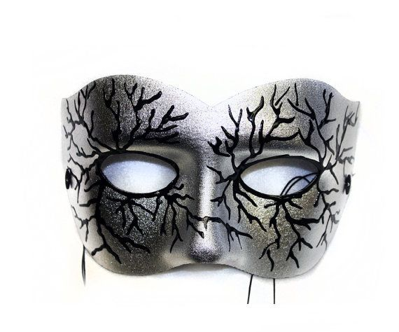 Volt Silver Hand-Painted Men's Masquerade Mask by SuccessCreations