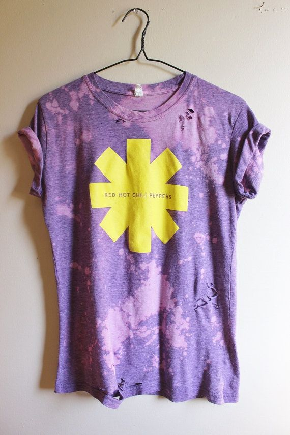 This shirt is a one of a kind, each splattered shirt is different.  This one is a purple Red Hot Chili Peppers tee. Nice thin jersey on this one.  It has distressing strategically placed all over the shirt, front and back.  Heres your info on it - - Size Large, check measurements  - Across chest flat, pit to pit - 20 (40 around)  - Shoulder down, front - 25  If you need more info or have any questions, just yell, were around to help you out.  If youre ordering from a location not listed…