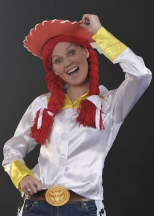 Ladies Fancy Dress Jessie Toy Story Style Red Wig