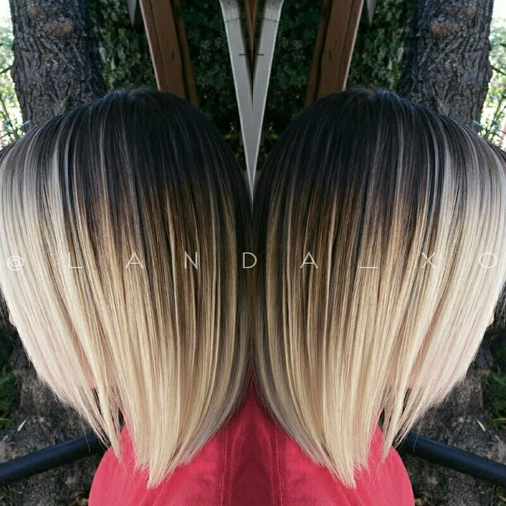 A Contrasty Dark Root To Platinum Blonde Ombre With