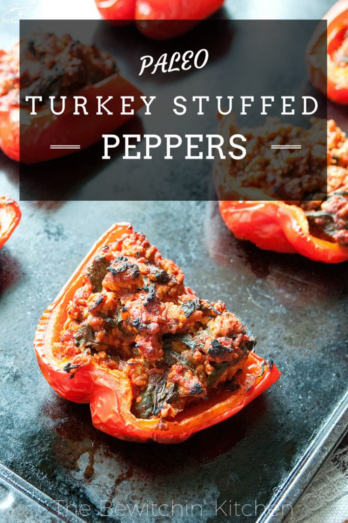 Paleo stuffed peppers recipe. This recipe is the most popular post at The Bewitchin' Kitchen. Add it to your paleo recipes list! | Turkey Stuffed Peppers…