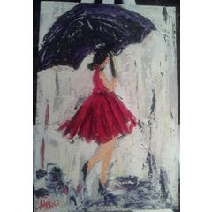 Girl walking on a rainy day. - Oil Painting BLOCKED 300r200x50 for R600.00