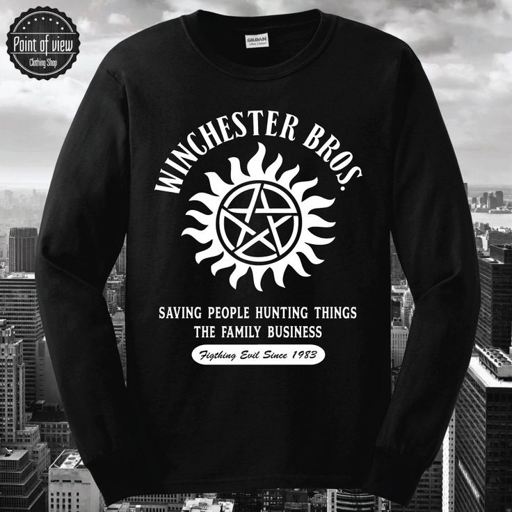 SUPERNATURAL LONGSLEEVE TSHIRT COTTON WINCHESTER BROTHERS Sam Dean Bobby Hunting