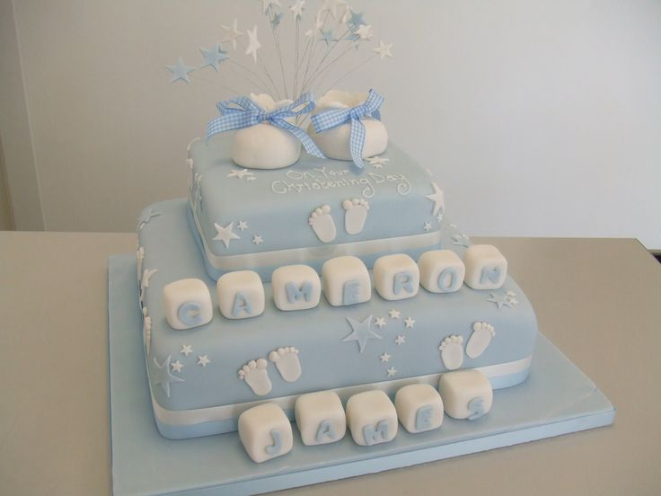 christening in blue | 2 tier christening cake with sugar boo… | Flickr