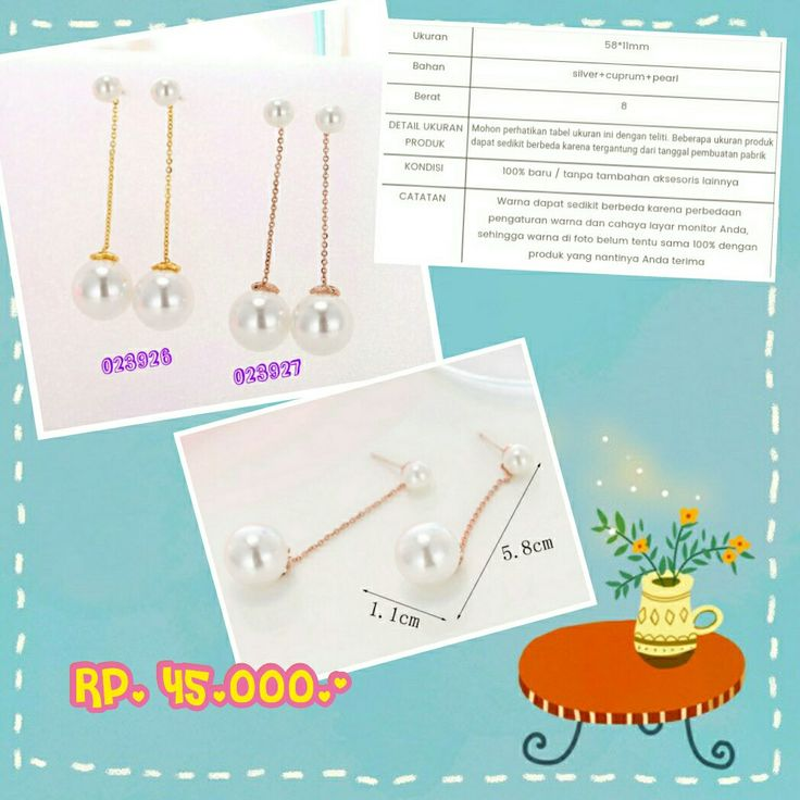 Pearl Long Chain Simple Rose #aksesorismurah #antingmurah