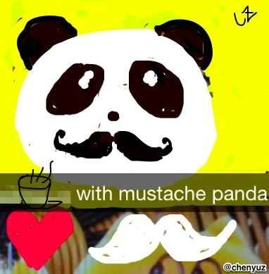 and along with my friend Mustache Panda, | 11  Extraordinary  NYC Coffee Shops In Snapchat Drawings (Brought To You By Mustache Panda)