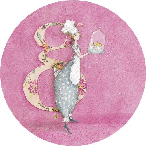 """Gaëlle Boissonnard carte postale ronde (13,8cm) """"La patissière"""""""