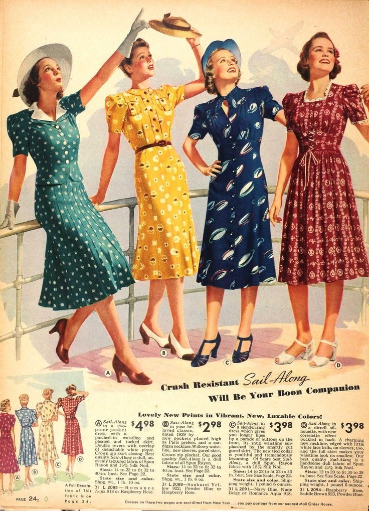 Four Wonderful Short Sleeve Daywear Dresses From Sears 1939 Vintage 1930s