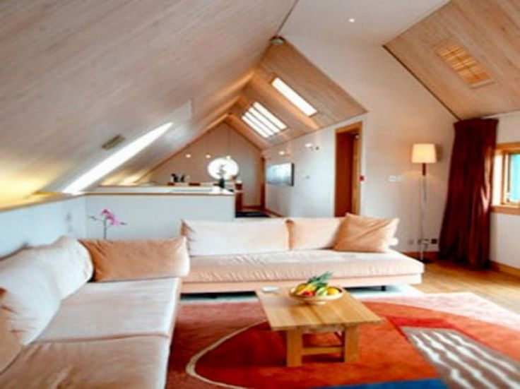 Living Room. Cozy Attic with White Interior Declaring a Comfortable Living Home: Stunning Attic Room Ideas For Beauteous Living Room Combination With Cream Puffy Sofabed And Cushions Also Small Wooden Coffee Table ~ wegli