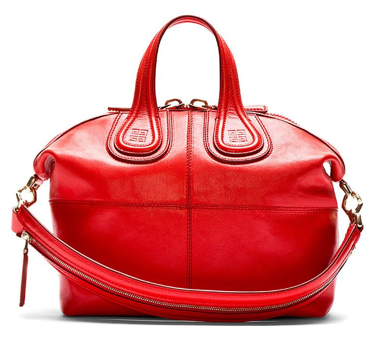 Coral Red Leather Small Zanzi Nightingale Bag. Structured leather tote in coral red. Pale gold tone hardware. Double carry handles at top with embossed logo at base. Single adjustable shoulder strap with zippered grip. Designed by Givenchy. http://www.zocko.com/z/JJ6RK