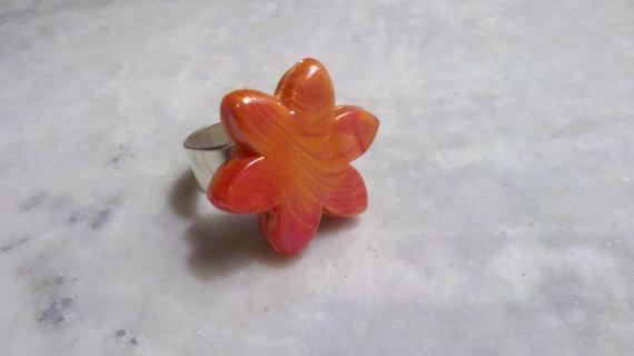 Tangerine Flower Tile Ring By Stacysocialbutterfly On Etsy