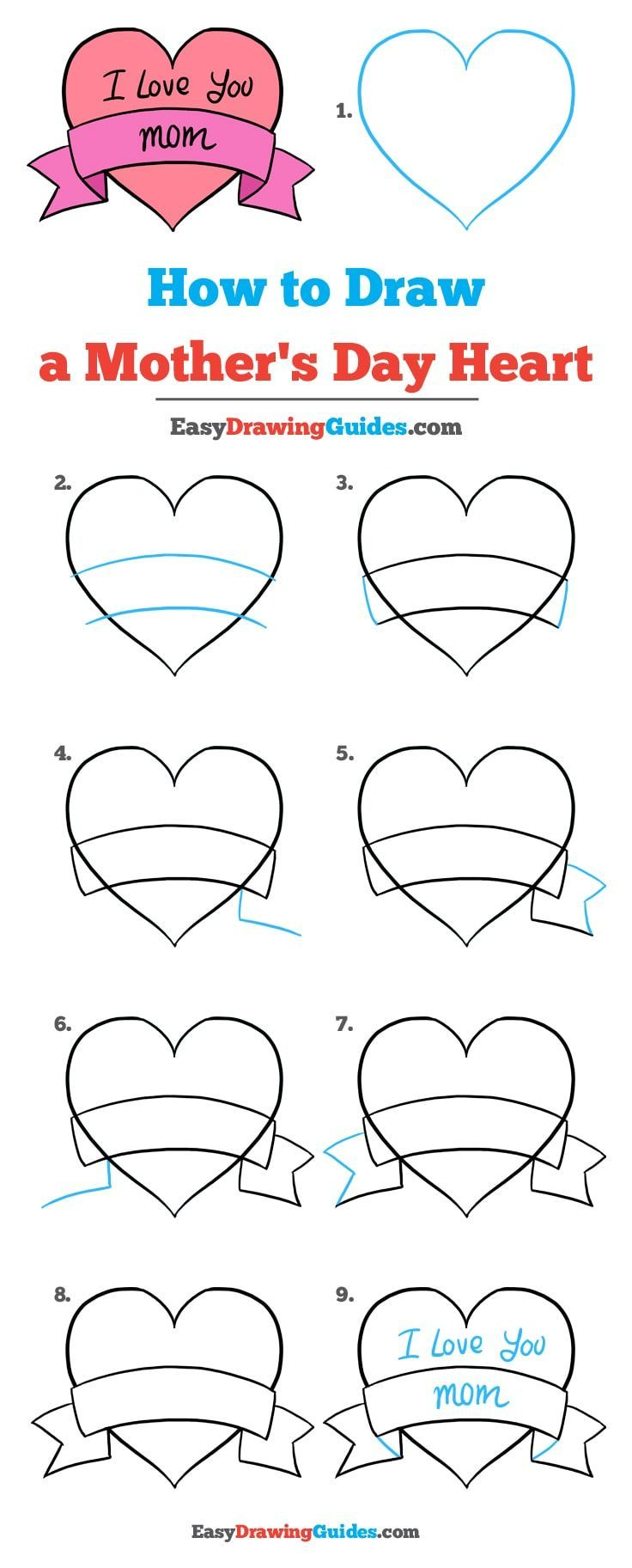 How To Draw A Mother S Day Heart Really Easy Drawing Tutorial