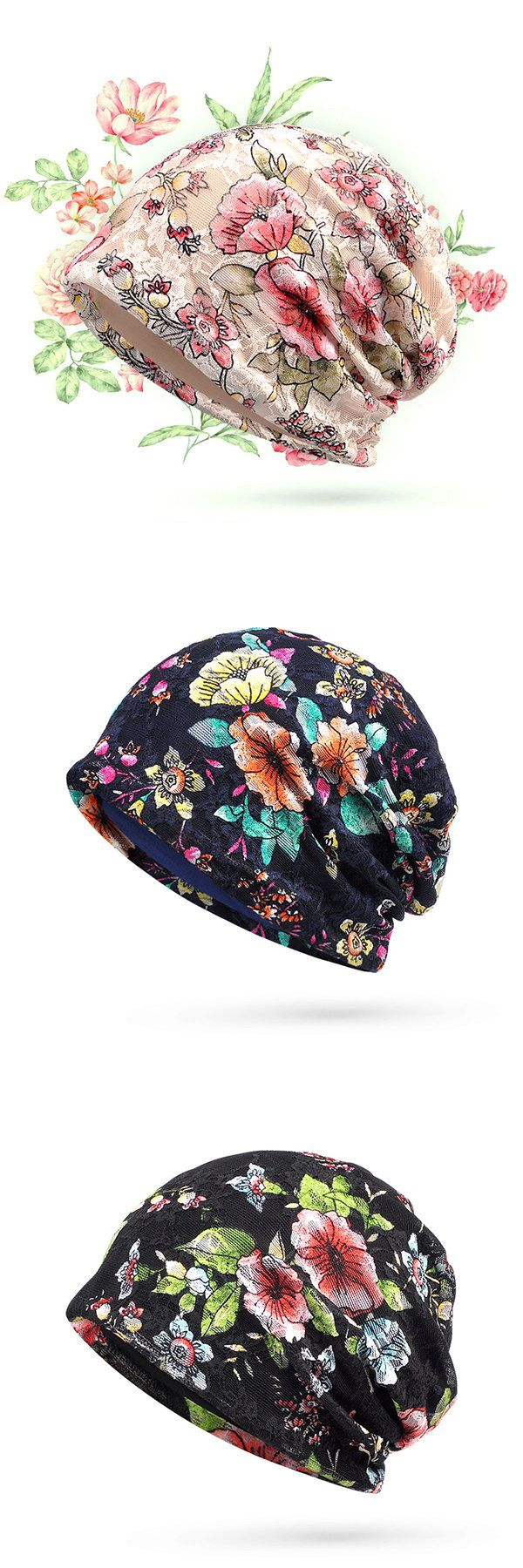 Lace Jacquard Thin Beanies Hats Travel Casual Bright Flowers Bonnet Cap For Women