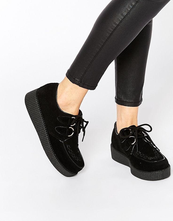 Image 1 of Truffle Collection Lace Up Creeper Shoes