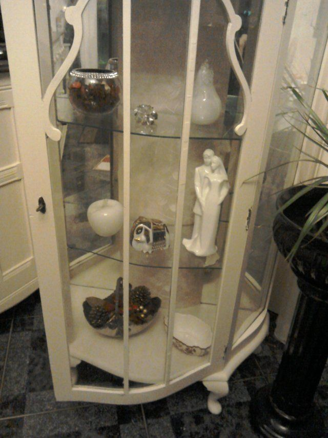 Vintage Shabby Chic Glass Display Cabinet For Sale in Redwick, Magor, Gwent | Preloved