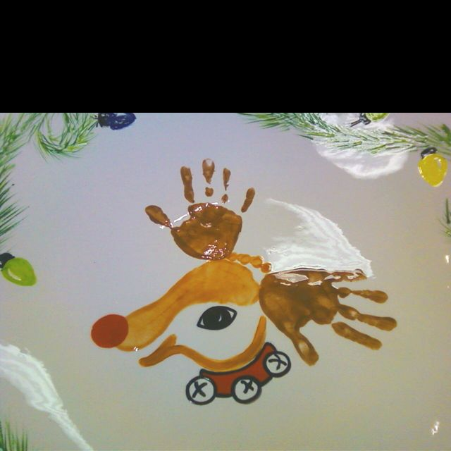 Hand and foot print reindeer!