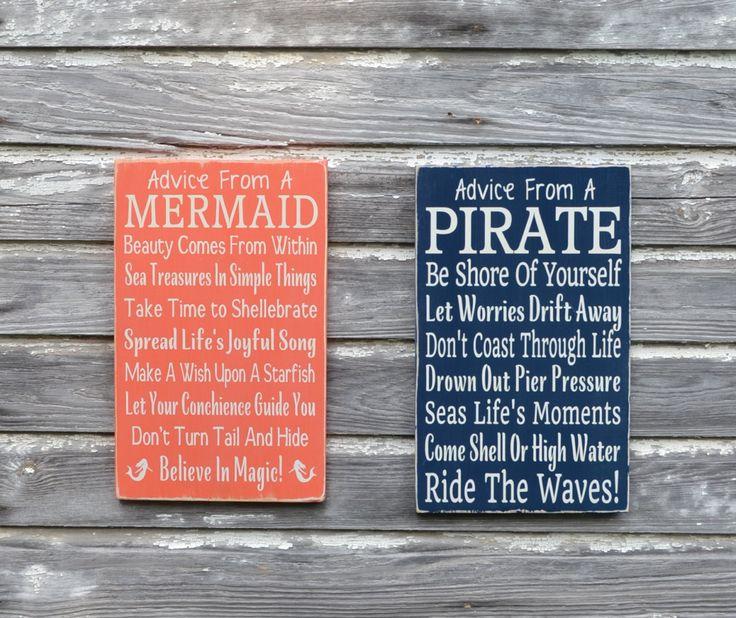Nautical Nursery Sign Kids Room Wall Art Advice From A Pirate Custom Beach Plaque Decor Coastal Theme Bedroom Gift Bathroom Ocean Childrens