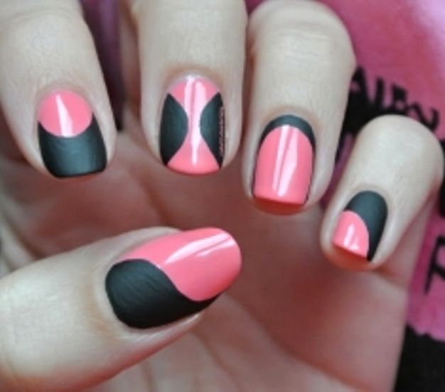 25 best nails black matte images on pinterest accessories pink matte black nails not the color combo but i like the designs prinsesfo Images