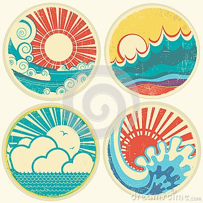 Vintage sun and sea waves. Vector icons of  illust by Geraktv, via Dreamstime