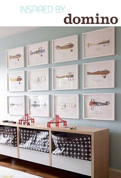 Set of 9 Airplane Boy's Nursery Playroom Wall Art. $105.00, via Etsy.