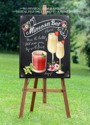 chalkboard mimosa bar sign, printable mimosa bar sign, wedding mimosa bar sign…